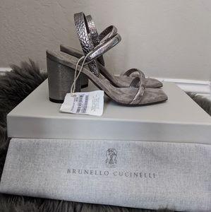 Brunello Cucinelli 80MM Metallic Leather Sandals.